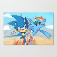 Sonic vs Rainbowdash Canvas Print