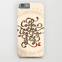 iPhone & iPod Case featuring Coffee. The Flow of Life. - Lettering by Ivana Catovic