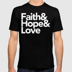 Faith & Hope &  Love Helvetica SMALL Mens Fitted Tee Black