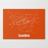 London Subway Poster - Orange Canvas Print