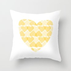Pretty golden heart Throw Pillow
