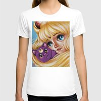 Sailor Moon and Luna Womens Fitted Tee White SMALL