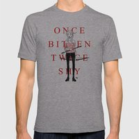 Once Bitten Twice Shy Mens Fitted Tee Athletic Grey SMALL