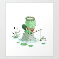 Fishing Kappa Art Print