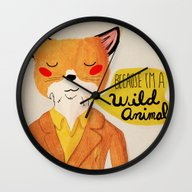 Wall Clock featuring Because I'm A Wild Anima… by Nan Lawson