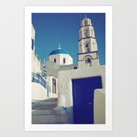 Santorini Churches I Art Print