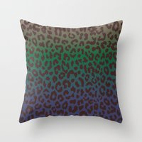 LEOPARD Hue-TAUPE GREEN … Throw Pillow
