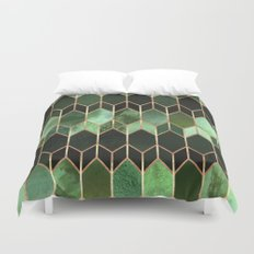 Stained Glass 5 - Forest Green Duvet Cover