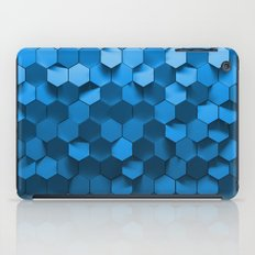 Blue hexagon abstract pattern iPad Case