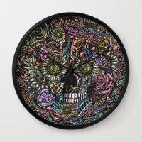 Sensory Overload Skull in Pastels Wall Clock