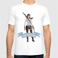 Fight Like A Girl: Lara … Mens Fitted Tee White SMALL