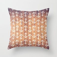 Vintage White Nautical Anchors Pattern Brown Wood Throw Pillow