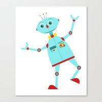 Dancing Robot Blue Canvas Print