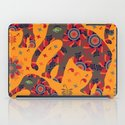 Cute elephants in orange background iPad Case