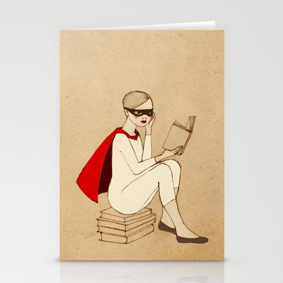Superhero reader Stationery Card