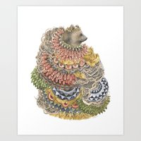 Quilted Forest: The Bear Art Print
