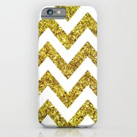 iPhone & iPod Case featuring GOLD GLITTER CHEVRON by natalie sales