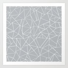 Abstract Lines 2 White on Grey Art Print