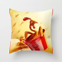 Bucket of Chicken Throw Pillow