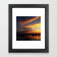 Framed Art Print featuring Sunset by Sven Herkenrath