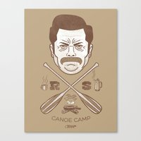 Ron Swanson Canoe Camp (dirty brown variant) Canvas Print
