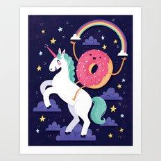 Magical Donut Ride Art Print
