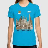 Philadelphia skyline vintage Womens Fitted Tee Teal SMALL