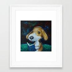 Dog Reading Framed Art Print