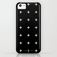 iPhone 5c Cases featuring White Plus on Black /// www.pencilmeinstationery.com by Pencil Me In ™
