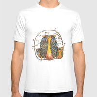 Owl family Mens Fitted Tee White SMALL