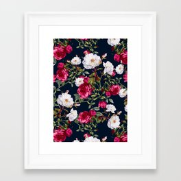 Framed Art Print - Vintage Roses on Darkblue - VS Fashion Studio