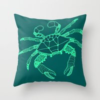 Green Crab Throw Pillow
