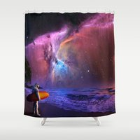 Space Surfer Shower Curtain