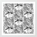 Dragon Kingdom Winter Toile Art Print