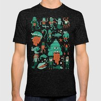 Wow! Creatures!  Mens Fitted Tee Tri-Black SMALL