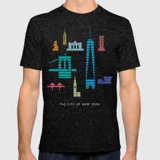 New York Skyline WTC Poster Color Mens Fitted Tee Tri-Black SMALL