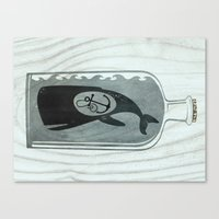 Whale In A Bottle | Anch… Canvas Print
