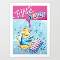 Keyboard Cat Says Thank … Art Print