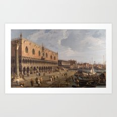 Venice, The Doge's Palace and the Riva degli Schiavoni by Canaletto Art Print