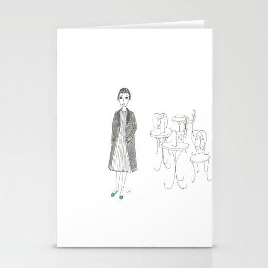 cafe girl Stationery Card