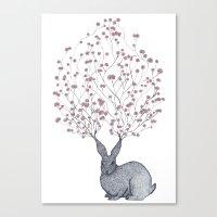 Blossom Heart Bunny Canvas Print