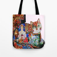 Russian  quilt cat  Tote Bag