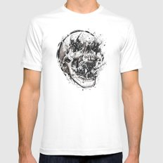 Skull With Demons Strugg… Mens Fitted Tee White SMALL
