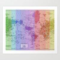 Rainbow World Map II Art Print