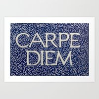 Carpe Diem Dark Blue Art Print