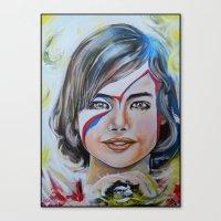 Girl With Yellow Bird Canvas Print