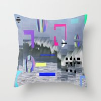 Throw Pillow featuring Geometric Wavez by Carol Sabbagh