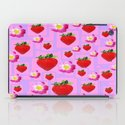 RED STRAWBERRIES & FLOWERS  LILAC  COLOR PATTERN DESIGN iPad Case