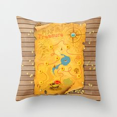 Treasure Map Throw Pillow