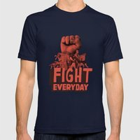 FIGHT EVERYDAY Mens Fitted Tee Navy SMALL